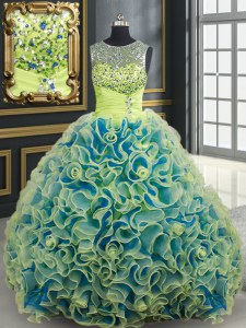 Scoop See Through Fabric With Rolling Flowers Sleeveless Quinceanera Gowns Brush Train and Beading and Sequins