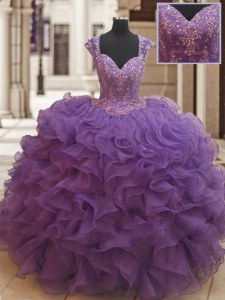 Latest Straps Cap Sleeves Zipper Floor Length Beading and Ruffles Quinceanera Gown