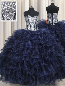 Navy Blue Organza Lace Up Sweet 16 Dresses Sleeveless Floor Length Ruffled Layers and Sequins