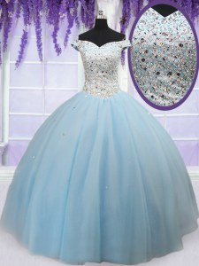 Chic Light Blue Ball Gowns Tulle Off The Shoulder Sleeveless Beading Floor Length Lace Up Sweet 16 Quinceanera Dress