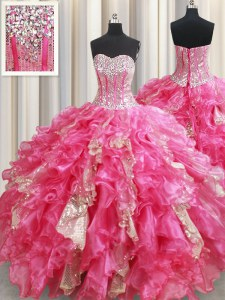 Affordable Hot Pink Lace Up Sweet 16 Dresses Beading and Ruffles and Sequins Sleeveless Floor Length