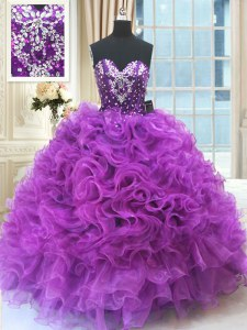 Eggplant Purple Ball Gowns Organza Sweetheart Sleeveless Beading and Ruffles Floor Length Lace Up Sweet 16 Quinceanera Dress