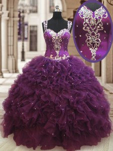 Dark Purple Straps Neckline Beading and Ruffles Quinceanera Dresses Sleeveless Zipper