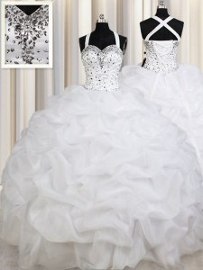 Latest White Lace Up Straps Beading and Ruffles and Pick Ups 15th Birthday Dress Organza Sleeveless