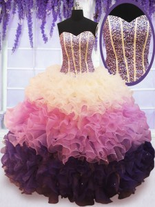 Ruffled Ball Gowns Quinceanera Gown Multi-color Sweetheart Organza Sleeveless Floor Length Lace Up