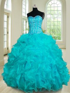 Adorable Teal Lace Up Quinceanera Gown Beading and Ruffles Sleeveless Floor Length