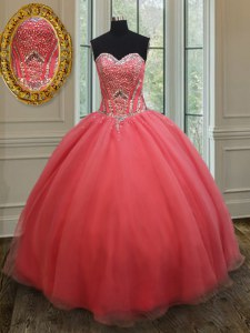 Sleeveless Organza Floor Length Lace Up Ball Gown Prom Dress in Pink with Beading