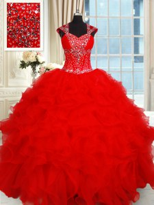 Hot Selling Red Organza Backless Sweetheart Cap Sleeves Floor Length 15th Birthday Dress Beading and Ruffles