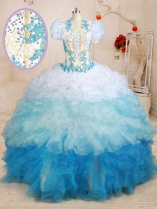 Beautiful Brush Train Ball Gowns Quince Ball Gowns Multi-color Sweetheart Organza Sleeveless With Train Lace Up