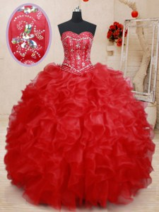 Attractive Red Sweetheart Lace Up Beading and Ruffles Vestidos de Quinceanera Sleeveless
