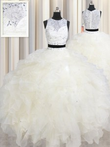Perfect Scoop Sleeveless Organza Sweet 16 Dress Beading and Ruffles Lace Up