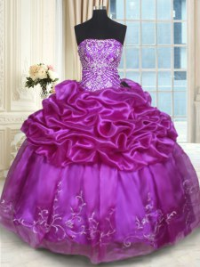 Eggplant Purple Vestidos de Quinceanera Military Ball and Sweet 16 and Quinceanera and For with Beading and Embroidery and Pick Ups Strapless Sleeveless Lace Up