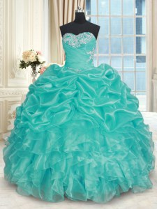 Ball Gowns Quince Ball Gowns Turquoise Sweetheart Organza Sleeveless Floor Length Lace Up