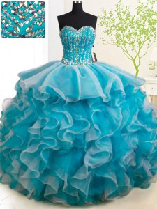 Sleeveless With Train Beading and Ruffles Lace Up 15th Birthday Dress with Teal Brush Train