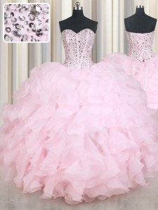 High Class Floor Length Lace Up Vestidos de Quinceanera Baby Pink for Military Ball and Sweet 16 and Quinceanera with Beading and Ruffles