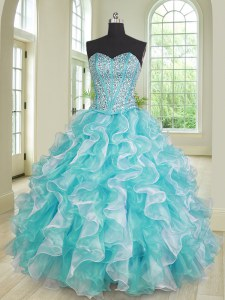 Gorgeous Sweetheart Sleeveless Organza Quinceanera Gowns Beading and Ruffles Lace Up