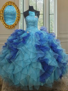 Blue Sleeveless Organza Lace Up Quinceanera Dresses for Military Ball and Sweet 16 and Quinceanera
