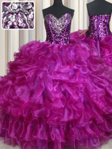 Sequins Sweetheart Sleeveless Lace Up Sweet 16 Dresses Purple Organza
