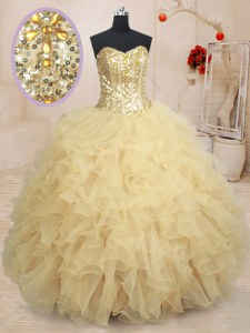 Custom Fit Sweetheart Sleeveless Sweet 16 Quinceanera Dress Floor Length Beading and Ruffles and Sequins Champagne Organza