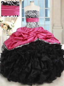 Pink And Black Organza and Taffeta Lace Up Strapless Sleeveless Floor Length Sweet 16 Dress Beading and Ruffles