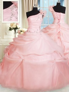 Romantic One Shoulder Beading and Hand Made Flower Quince Ball Gowns Pink Lace Up Sleeveless Floor Length