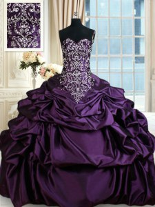 Colorful Sweetheart Sleeveless Taffeta Sweet 16 Dresses Beading and Embroidery and Pick Ups Lace Up