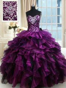 Sequins Ruffled Floor Length Ball Gowns Sleeveless Purple Quinceanera Gowns Lace Up