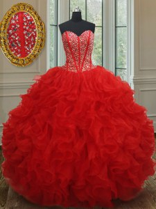 Gorgeous Beading and Ruffles Quinceanera Dresses Red Lace Up Sleeveless Floor Length