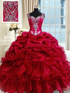Attractive Straps Sleeveless Zipper Floor Length Ruffled Layers and Pick Ups Vestidos de Quinceanera