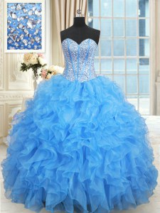 Graceful Sweetheart Sleeveless Satin and Organza Quinceanera Dresses Beading and Ruffles and Ruffled Layers Lace Up