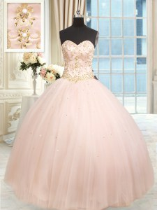 Sleeveless Satin and Tulle Floor Length Lace Up Sweet 16 Dress in Baby Pink with Beading and Embroidery