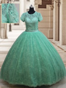 Free and Easy Apple Green Quinceanera Dresses Military Ball and Sweet 16 and Quinceanera and For with Lace Scoop Short Sleeves Zipper