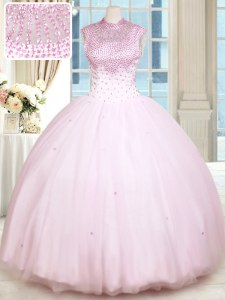 Hot Sale Floor Length Baby Pink Quinceanera Dress Sweetheart Sleeveless Lace Up