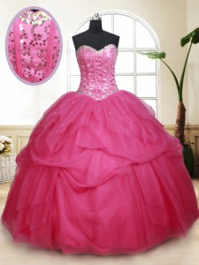Hot Selling Sequins Hot Pink Sleeveless Tulle Lace Up Quinceanera Gown for Military Ball and Sweet 16 and Quinceanera
