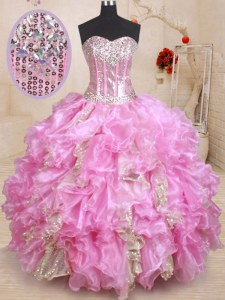 Charming Sleeveless Floor Length Beading and Ruffles and Sequins Lace Up Ball Gown Prom Dress with Lilac