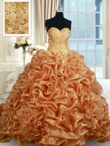 Fabulous Sleeveless Beading and Ruffles and Pick Ups Lace Up Sweet 16 Quinceanera Dress with Champagne Brush Train