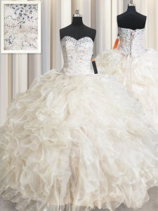 Champagne Ball Gowns Beading and Lace and Ruffles Quinceanera Gown Lace Up Organza Sleeveless Floor Length