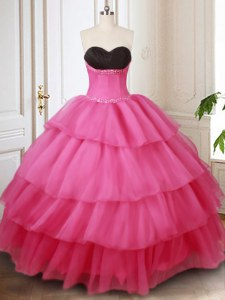 Ruffled Sweetheart Sleeveless Lace Up Quinceanera Dress Hot Pink Organza