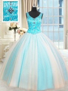Sleeveless Lace Up Floor Length Beading Sweet 16 Dress