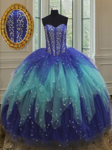 Modern Sweetheart Sleeveless 15th Birthday Dress Floor Length Beading and Ruffles Royal Blue and Aqua Blue Tulle