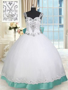 Noble Straps Taffeta and Tulle Sleeveless Floor Length 15th Birthday Dress and Beading and Lace and Bowknot