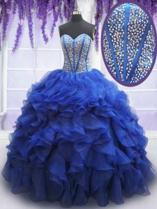 High Class Sleeveless Floor Length Beading and Ruffles Lace Up Quinceanera Dresses with Royal Blue