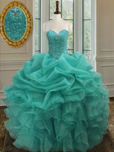 Dramatic Organza Sweetheart Sleeveless Lace Up Beading and Ruffles and Pick Ups Sweet 16 Quinceanera Dress in Turquoise