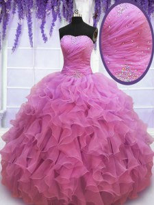 Organza Sweetheart Sleeveless Lace Up Beading and Ruffles Quinceanera Dress in Lilac