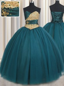 Sleeveless Tulle Floor Length Lace Up Sweet 16 Quinceanera Dress in Teal with Beading