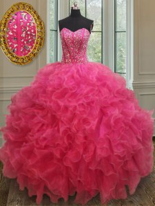 Hot Pink Organza Lace Up Sweetheart Sleeveless Floor Length Vestidos de Quinceanera Beading and Ruffles