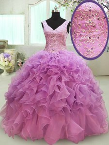 Fashion Sleeveless Organza Floor Length Lace Up Sweet 16 Dresses in Lilac with Beading and Ruffles