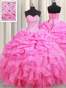 Rose Pink Sleeveless Floor Length Beading and Ruffles and Pick Ups Lace Up Quinceanera Dress