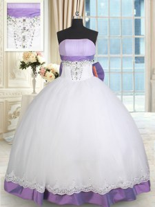 Floor Length Lace Up Vestidos de Quinceanera White And Purple for Military Ball and Sweet 16 and Quinceanera with Beading and Lace and Bowknot