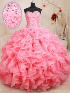 Pink Sleeveless Beading and Ruffles Floor Length Quinceanera Gown